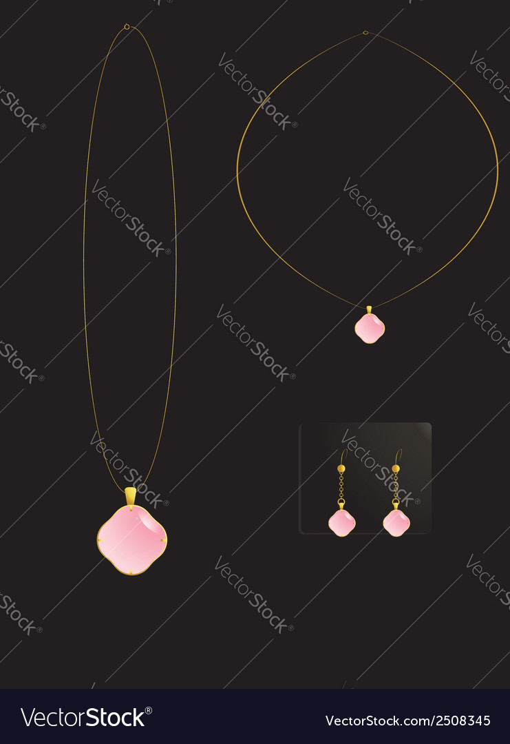 Pink stone necklace set vector | Price: 1 Credit (USD $1)