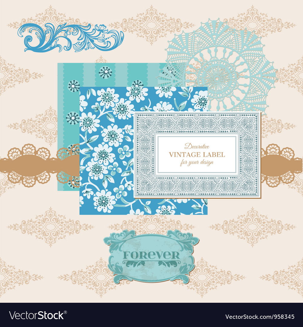 Scrapbook design elements - vintage flower card vector | Price: 1 Credit (USD $1)