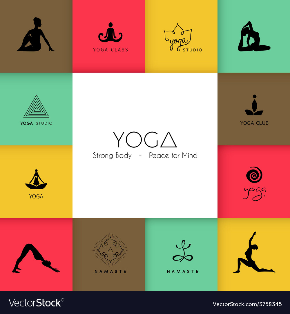 Set of logos for a yoga studio vector | Price: 1 Credit (USD $1)