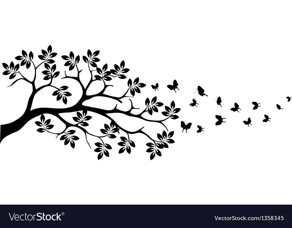 Tree silhouette with butterfly vector | Price: 1 Credit (USD $1)