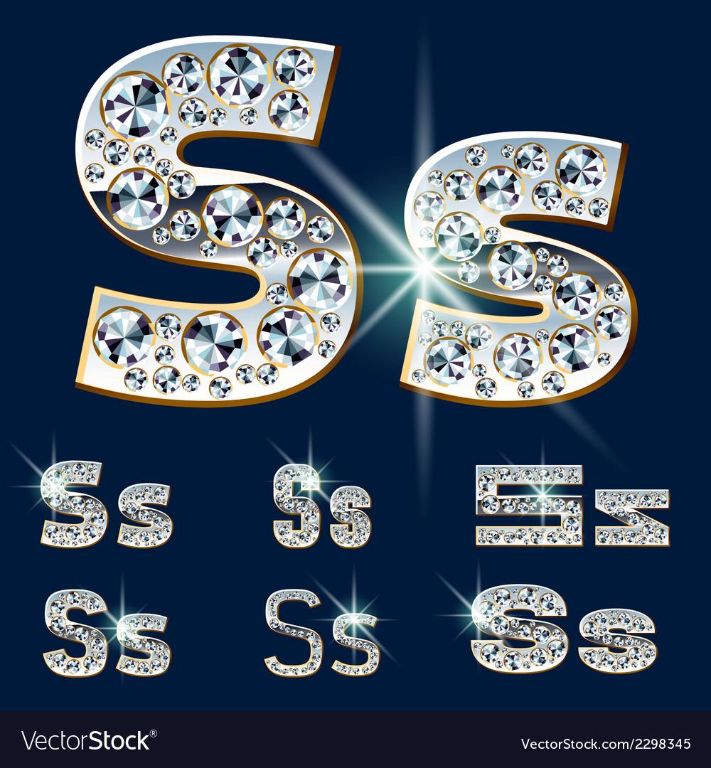 Ultimate alphabet of diamonds and platinum ingot vector | Price: 1 Credit (USD $1)