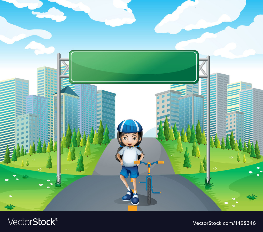 A girl standing below the empty signboard vector | Price: 1 Credit (USD $1)