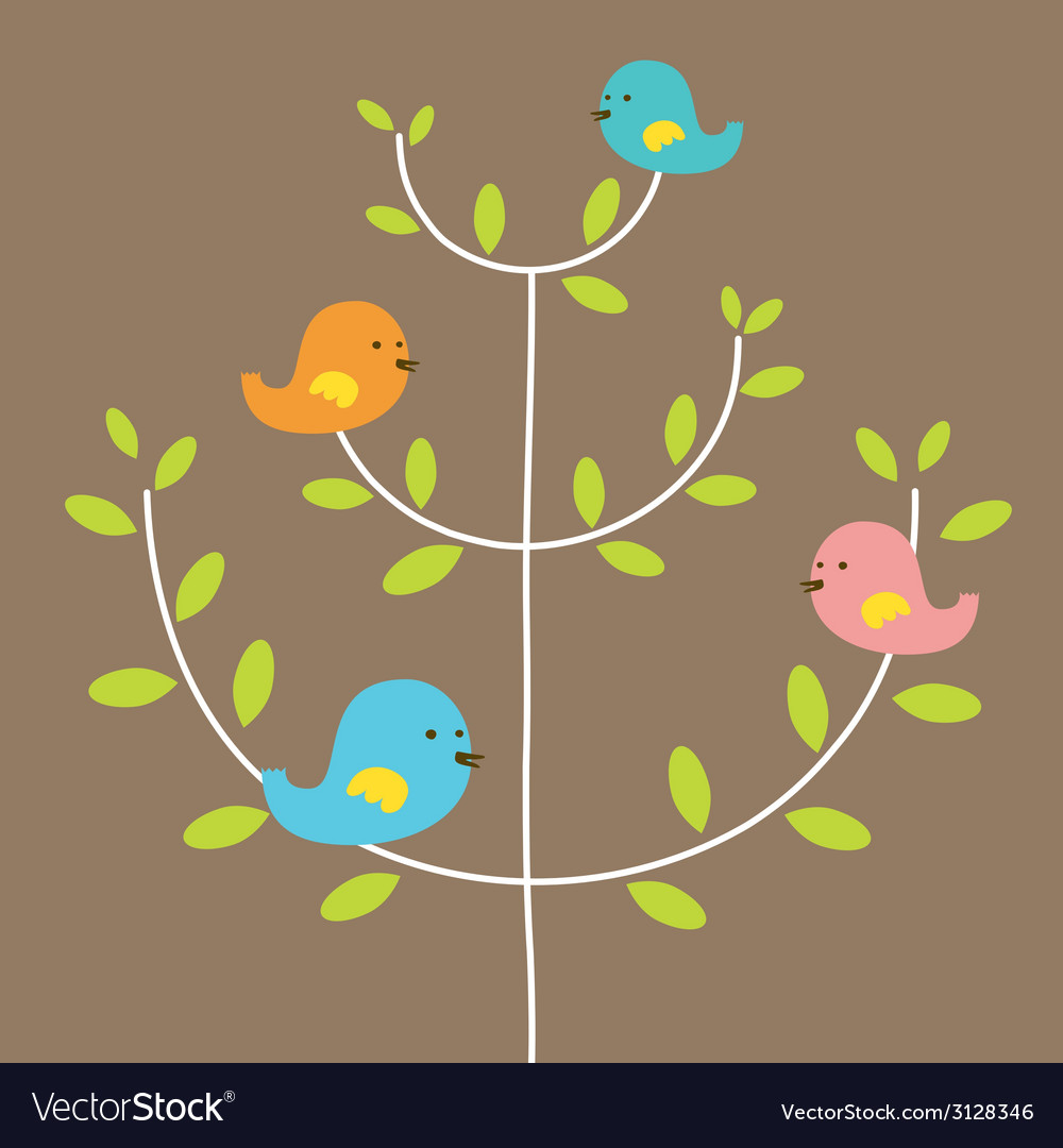 Birds family on a tree vector | Price: 1 Credit (USD $1)