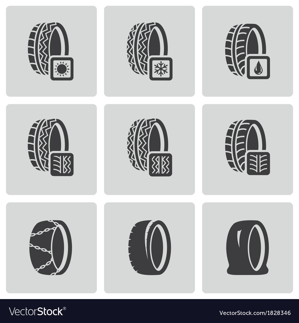 Black tire icon set vector | Price: 1 Credit (USD $1)