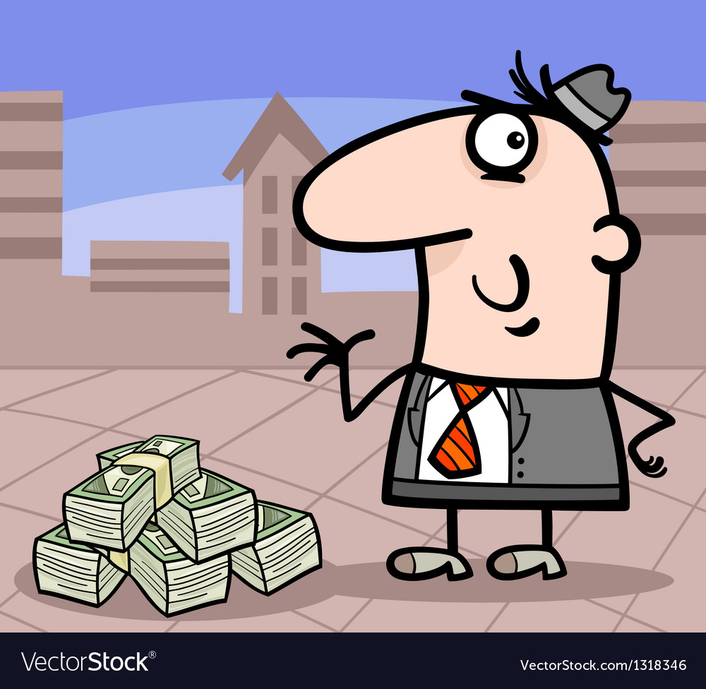 Businessman with money cartoon vector | Price: 1 Credit (USD $1)