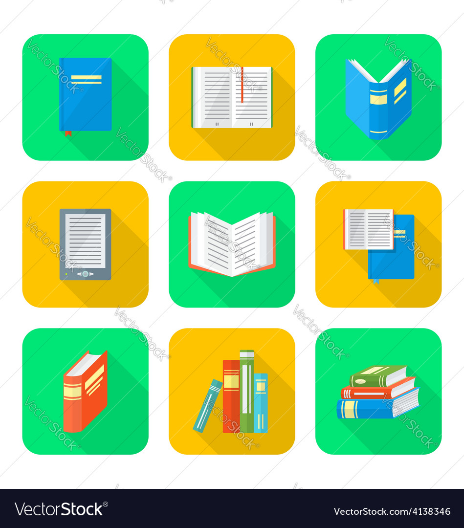 Colored flat style books icons set vector | Price: 1 Credit (USD $1)
