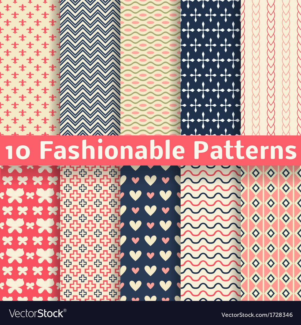 Fashionable seamless patterns tiling retro vector | Price: 1 Credit (USD $1)