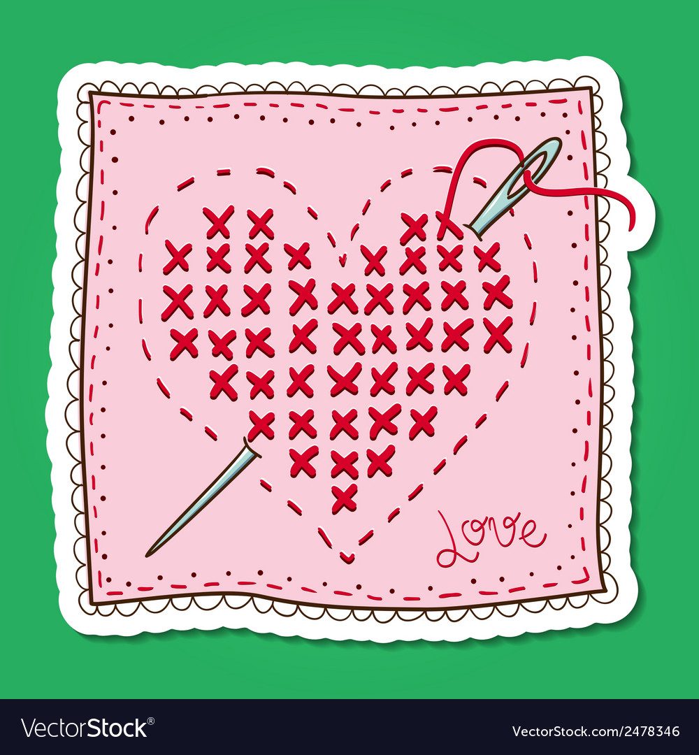 Handkerchief with heart embroidery vector   Price: 1 Credit (USD $1)