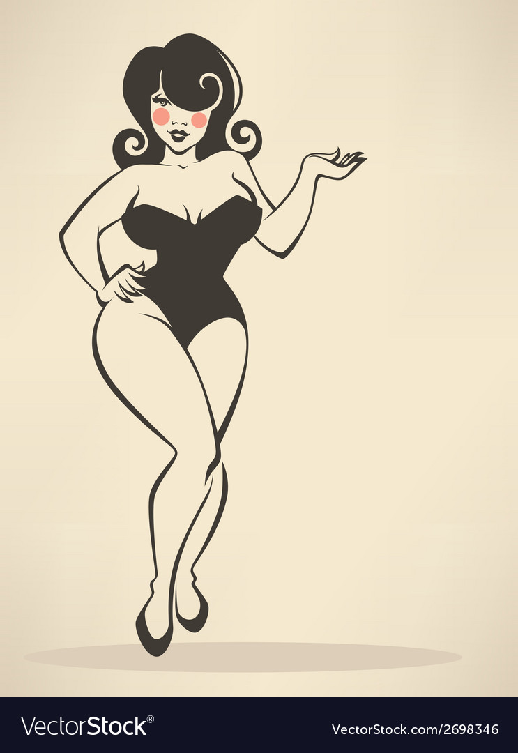 Plus size pinup vector | Price: 1 Credit (USD $1)