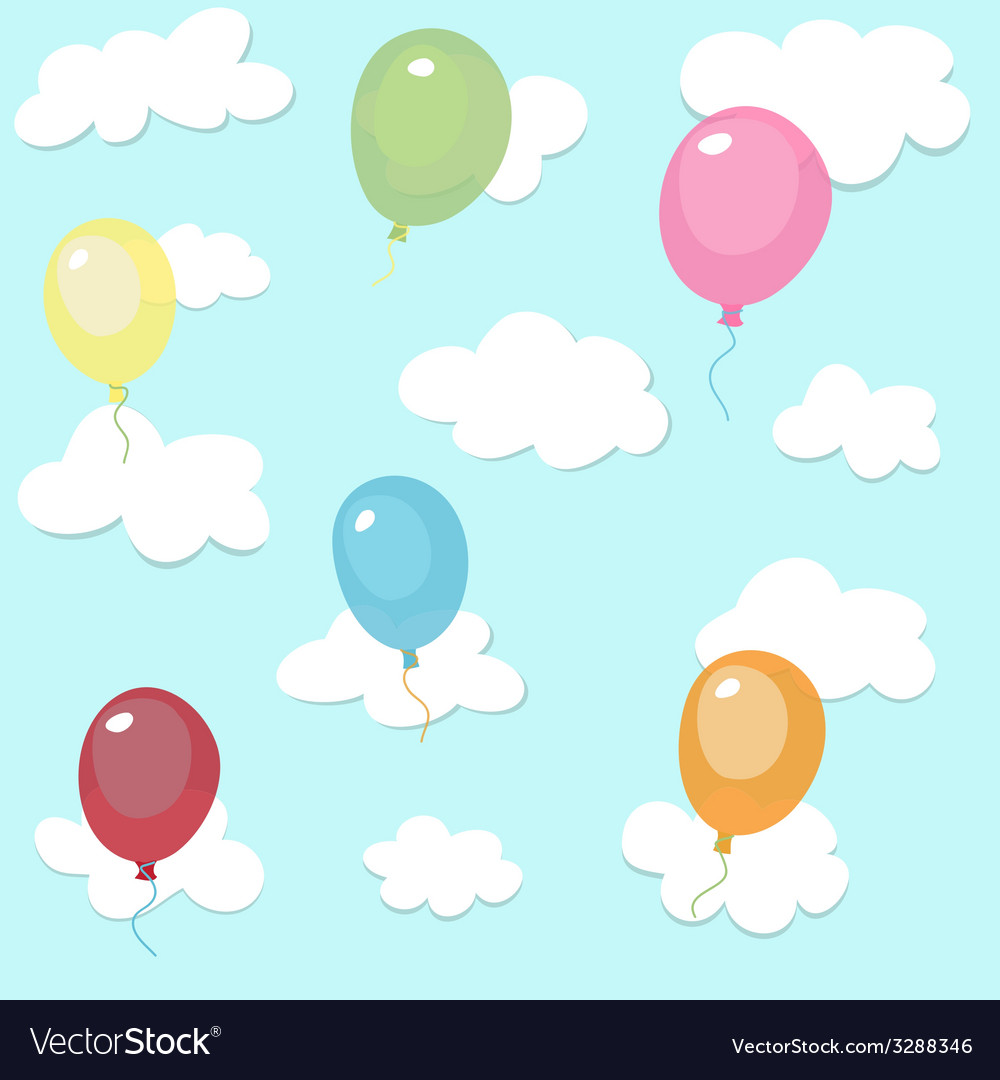 Seamless pattern with colorful balloons vector   Price: 1 Credit (USD $1)