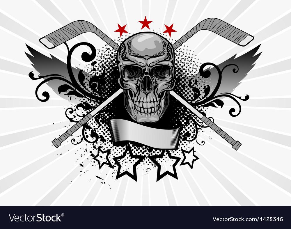 Skull mascot hockey vector | Price: 1 Credit (USD $1)