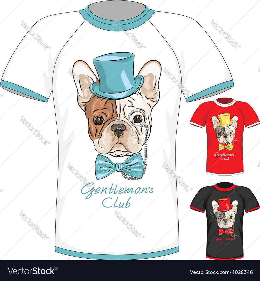 T-shirt with french bulldog dog gentleman vector | Price: 1 Credit (USD $1)