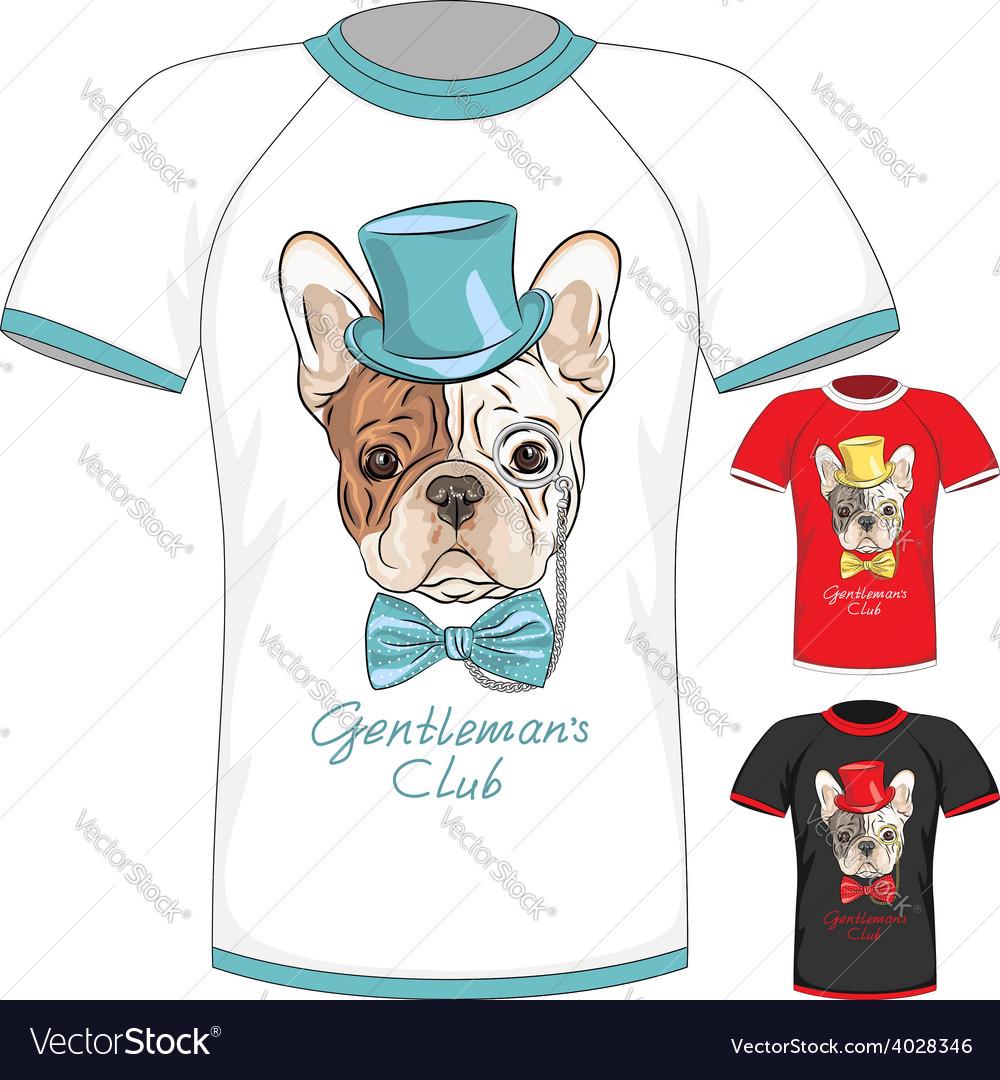 T-shirt with french bulldog dog gentleman vector | Price: 1 Credit (USD $1)