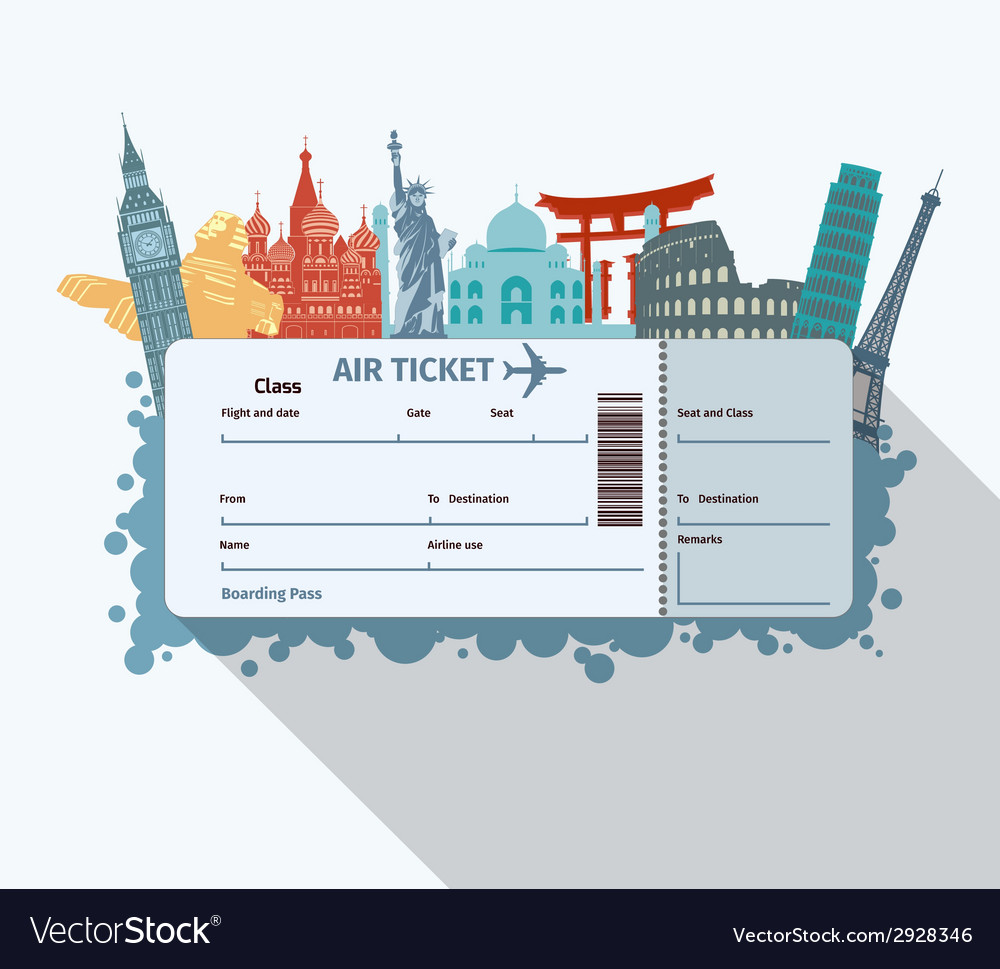 World landmarks ticket vector | Price: 1 Credit (USD $1)