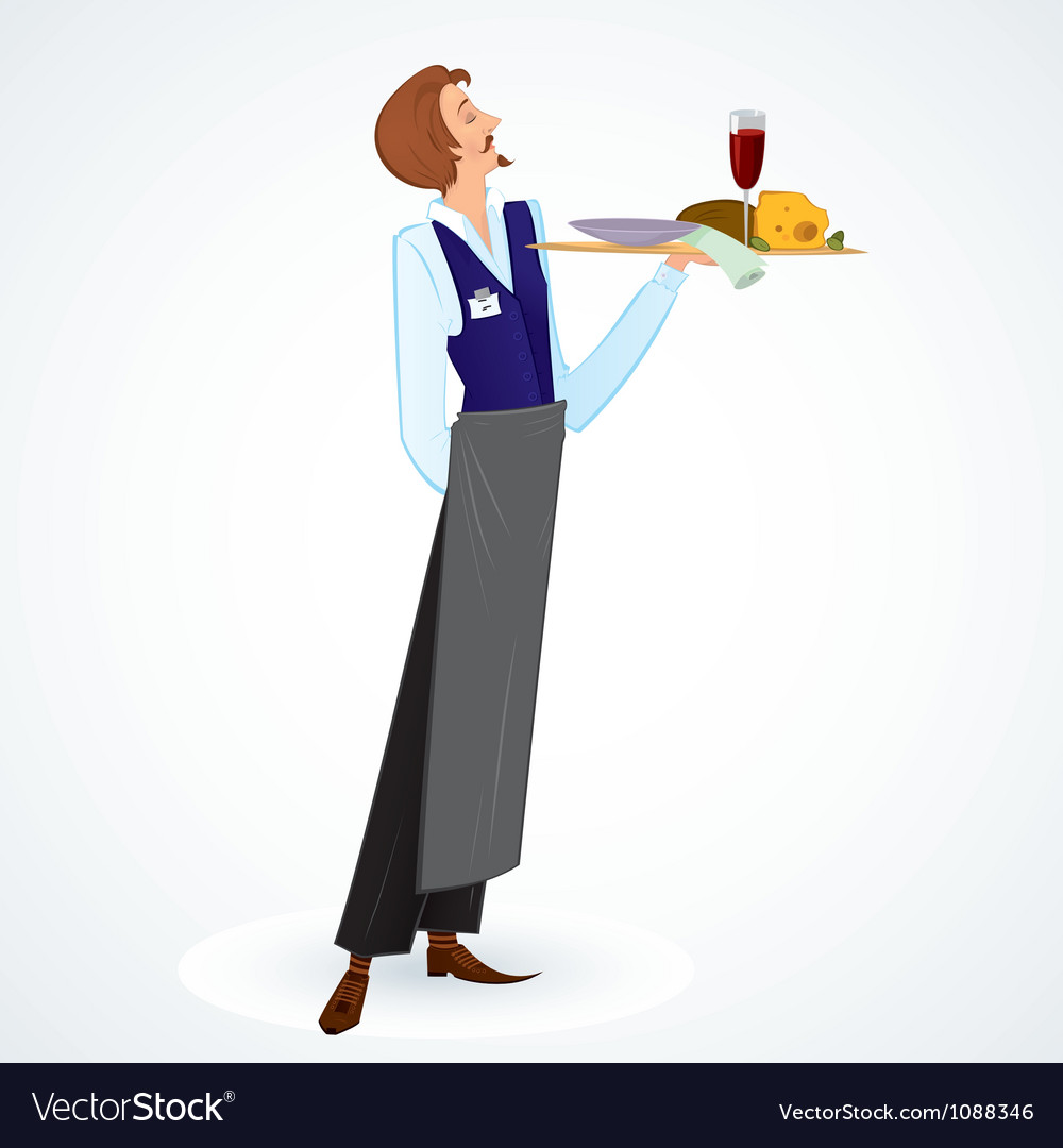 Young waiter vector | Price: 1 Credit (USD $1)