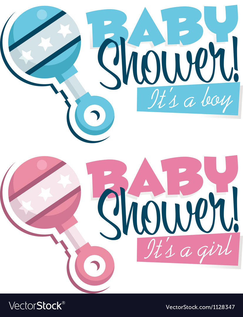 Baby shower invitations with rattles vector | Price: 1 Credit (USD $1)