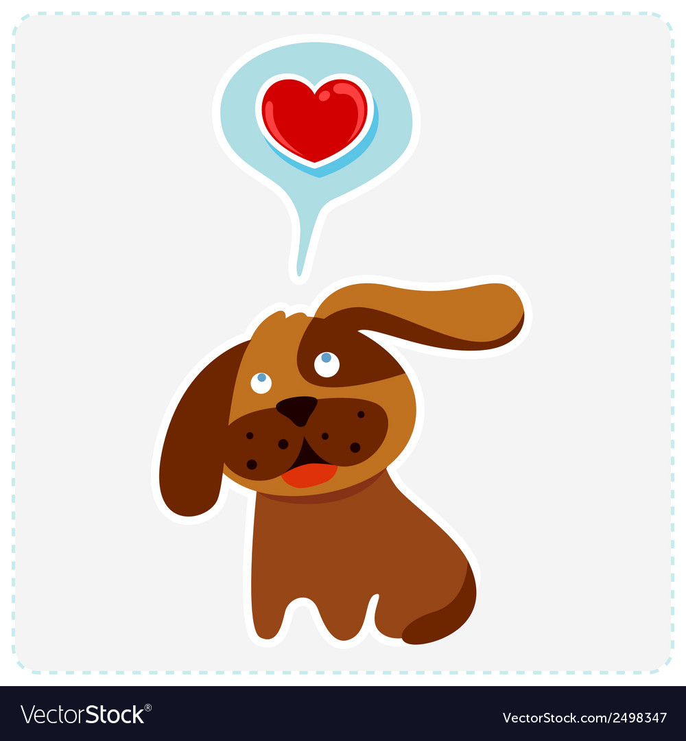 Cute cartoon dog is thinking to love vector | Price: 1 Credit (USD $1)