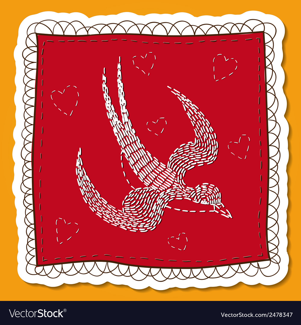 Handkerchief with swallow embroidery vector | Price: 1 Credit (USD $1)