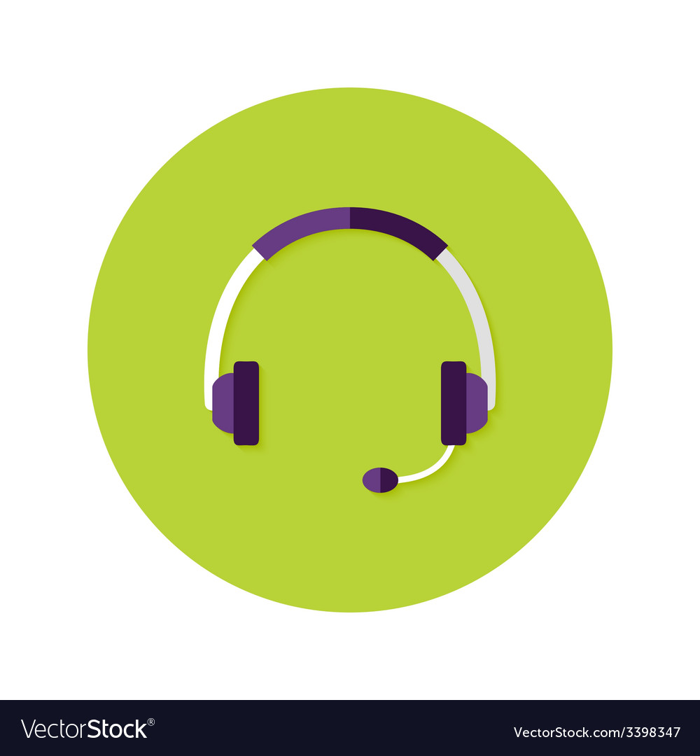Headset callback flat circle icon vector | Price: 1 Credit (USD $1)