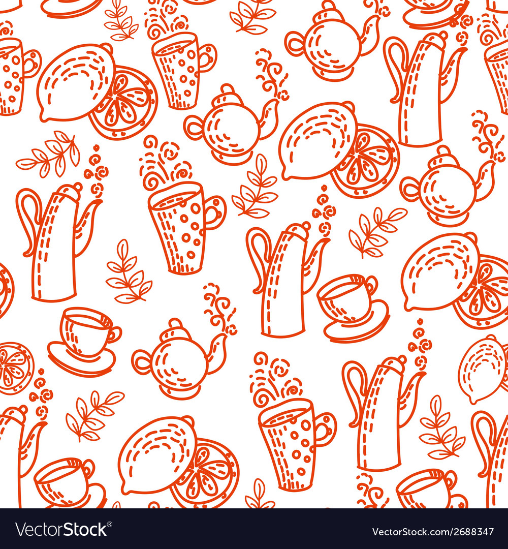 Red seamless pattern with tea cups vector | Price: 1 Credit (USD $1)