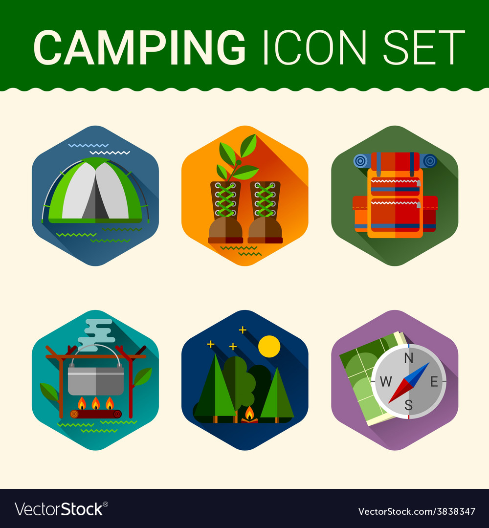 Set of cute various camping icons vector
