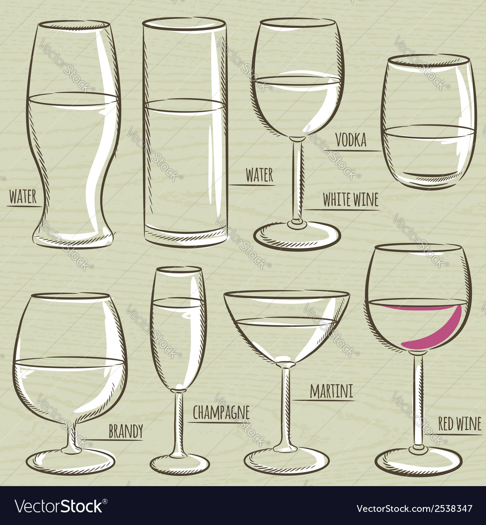 Set of different glasses vector | Price: 1 Credit (USD $1)