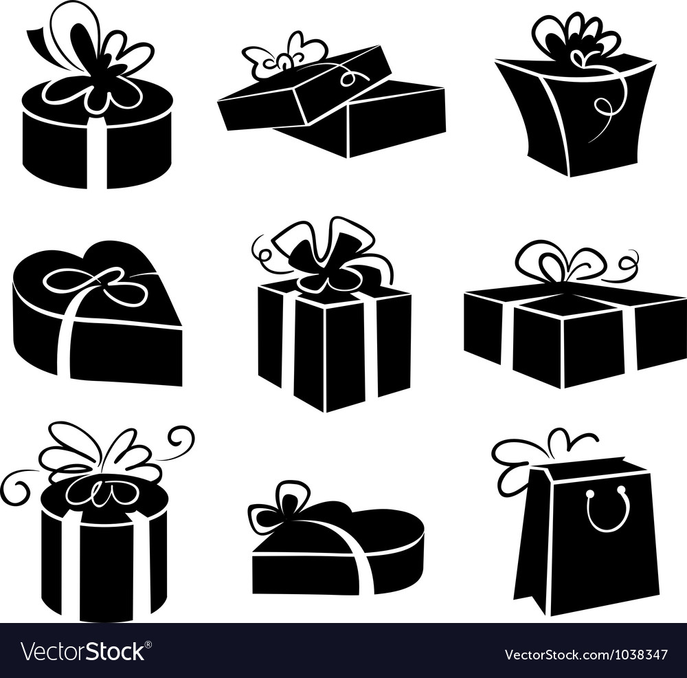 Set of gift boxes icons vector   Price: 1 Credit (USD $1)