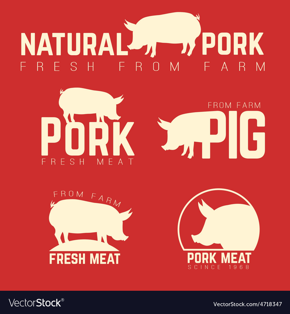 Set of pork emblems logotypes and labels isolated vector | Price: 1 Credit (USD $1)
