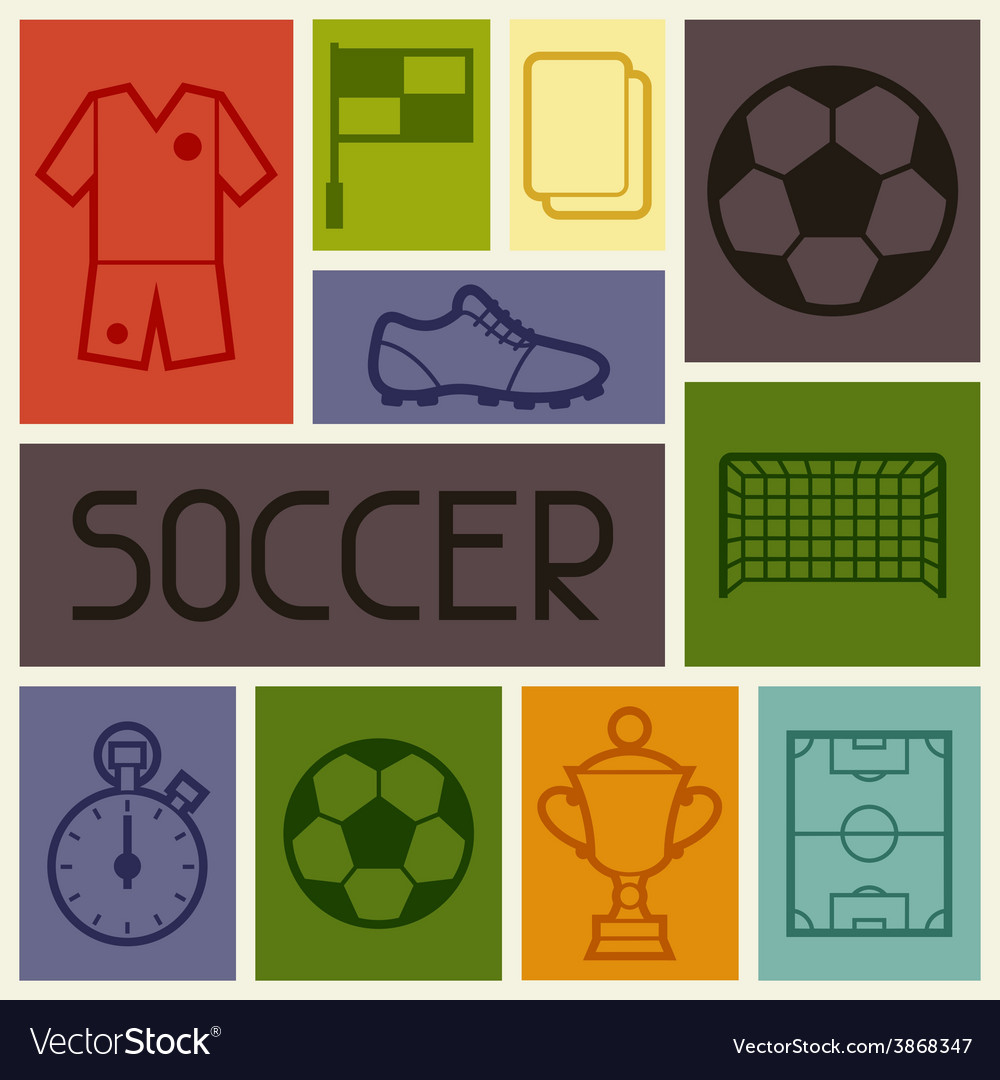 Sports background with soccer football symbols vector   Price: 1 Credit (USD $1)