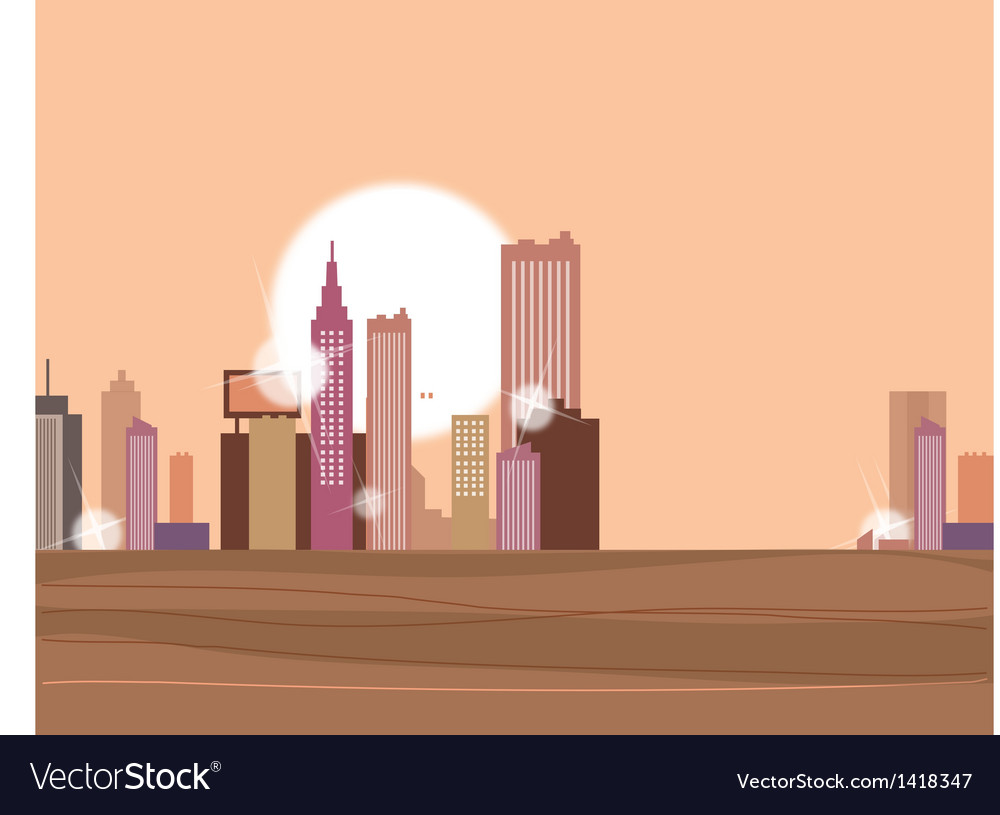 Sunset metropolis vector | Price: 1 Credit (USD $1)