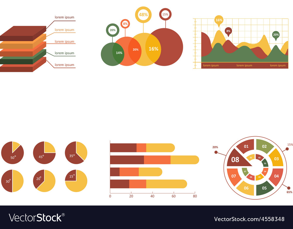Business data market elements dot bar pie charts vector | Price: 1 Credit (USD $1)