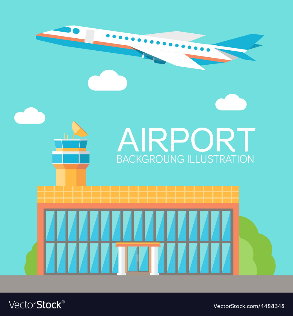 Flat building airport with flying plane tour vector | Price: 1 Credit (USD $1)