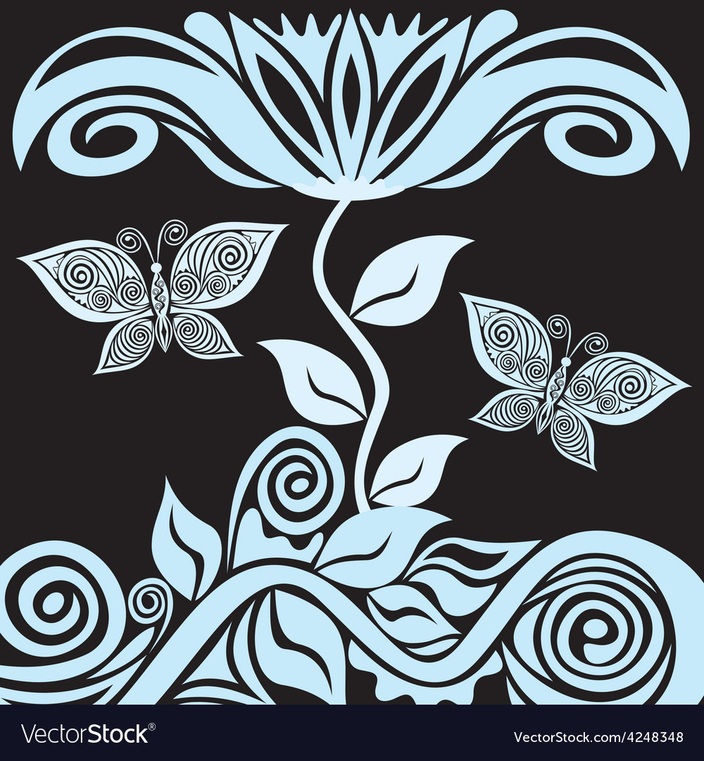Floral nature pattern background with butterfly vector | Price: 1 Credit (USD $1)