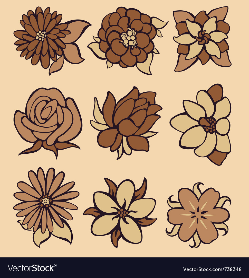 Flower coffee vector | Price: 1 Credit (USD $1)