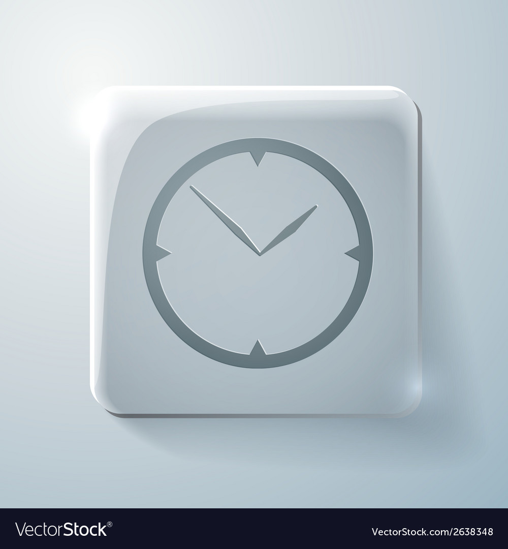 Glass square icon with highlights clock vector | Price: 1 Credit (USD $1)