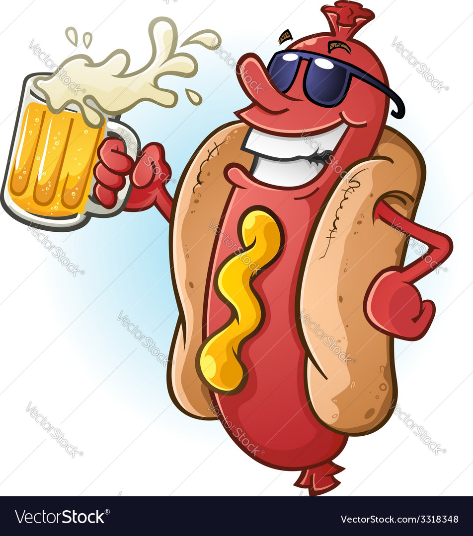 Hot dog cartoon with sunglasses and beer vector | Price: 3 Credit (USD $3)