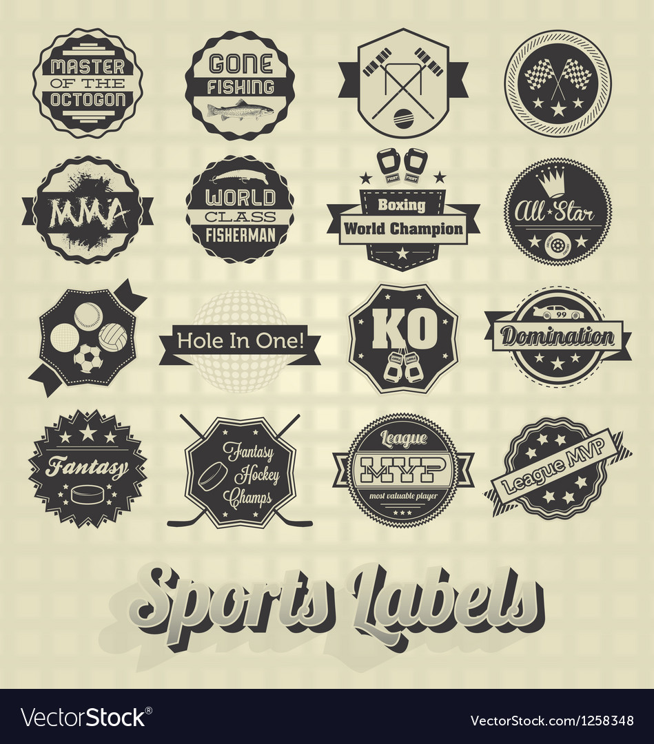 Mixed sports labels vector | Price: 1 Credit (USD $1)