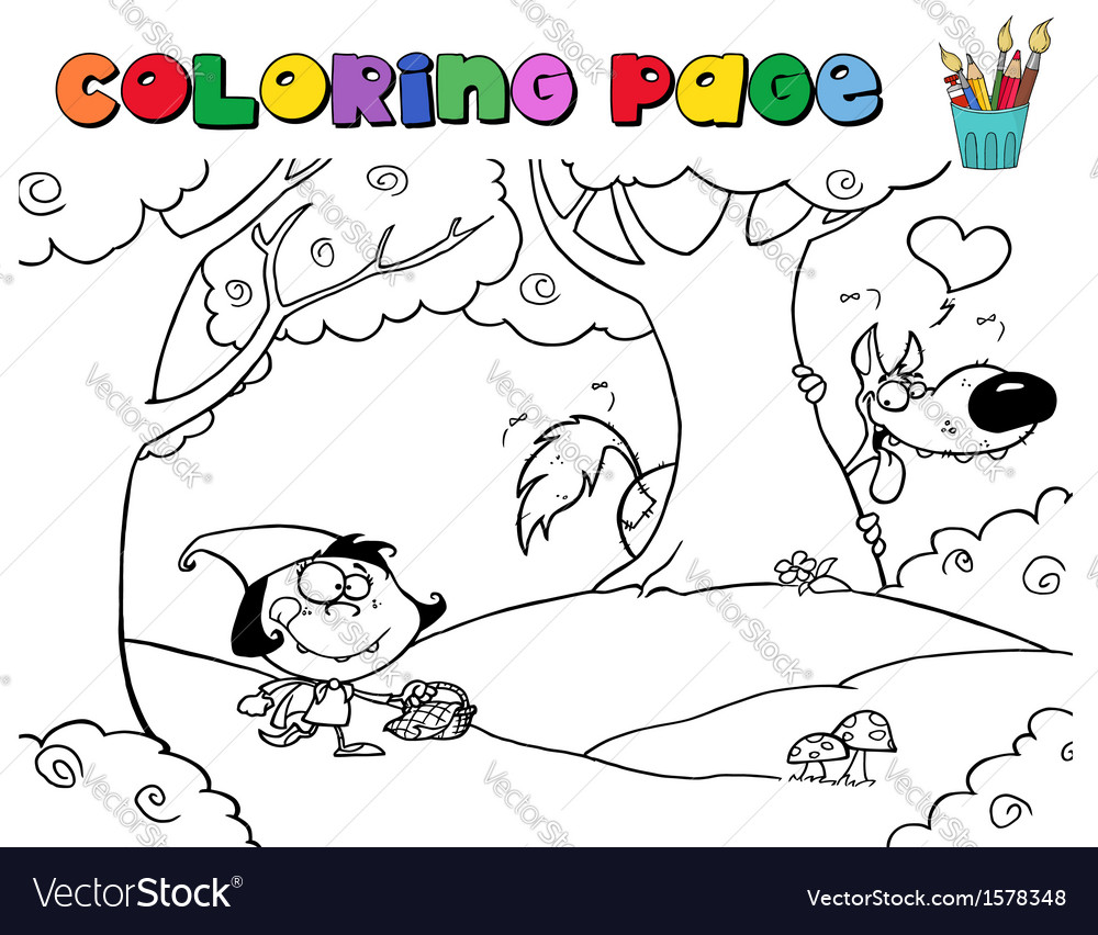 Red riding hood colouring cartoon vector | Price: 1 Credit (USD $1)