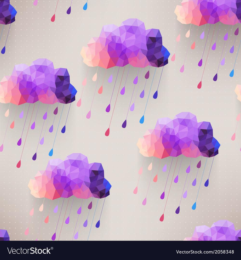 Retro cloud seamless pattern with rain symbol vector | Price: 1 Credit (USD $1)