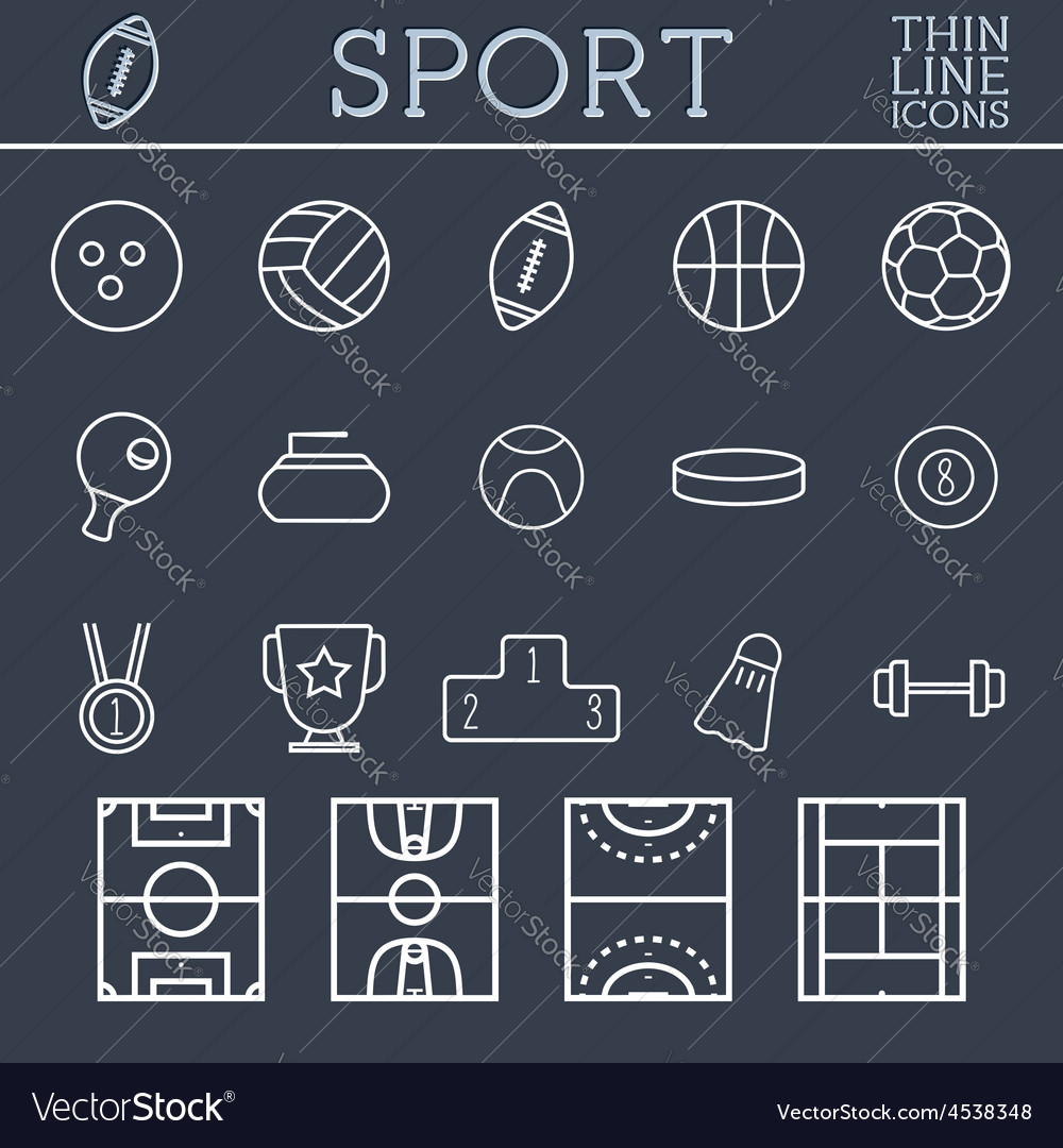 Sport outline icons trendy thin line design blue vector   Price: 1 Credit (USD $1)