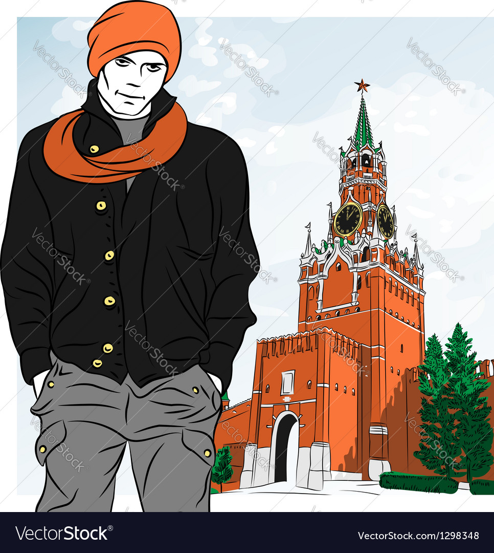 Stylish guy in moscow vector | Price: 3 Credit (USD $3)