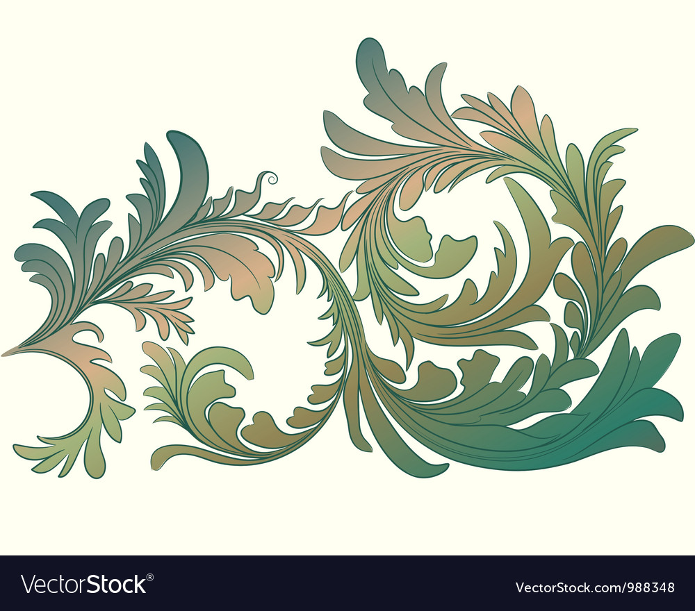 Vintage calligraphic detailed floral branch vector | Price: 1 Credit (USD $1)