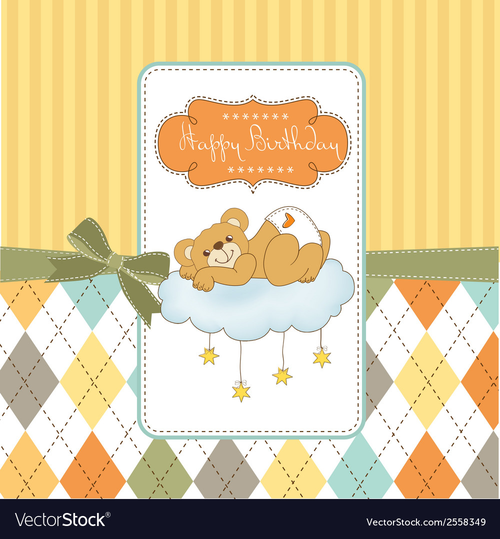 Baby shower card with sleepy teddy bear vector   Price: 1 Credit (USD $1)
