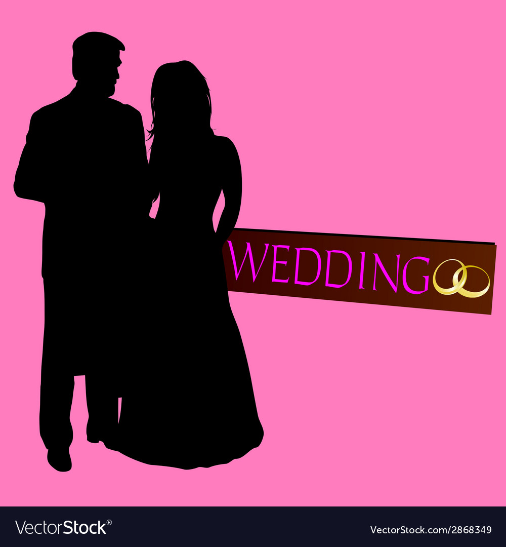 Couple wedding silhouette with rings vector | Price: 1 Credit (USD $1)