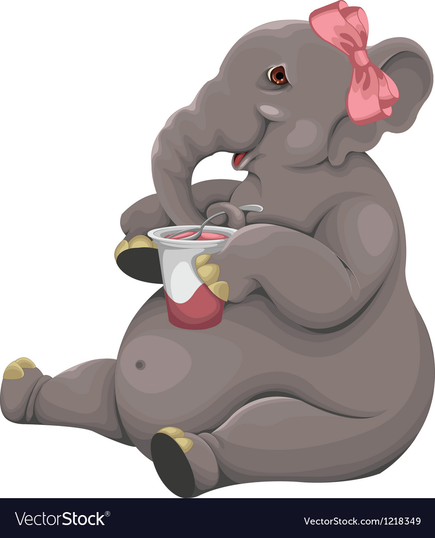 Elephant eats yogurt vector | Price: 3 Credit (USD $3)