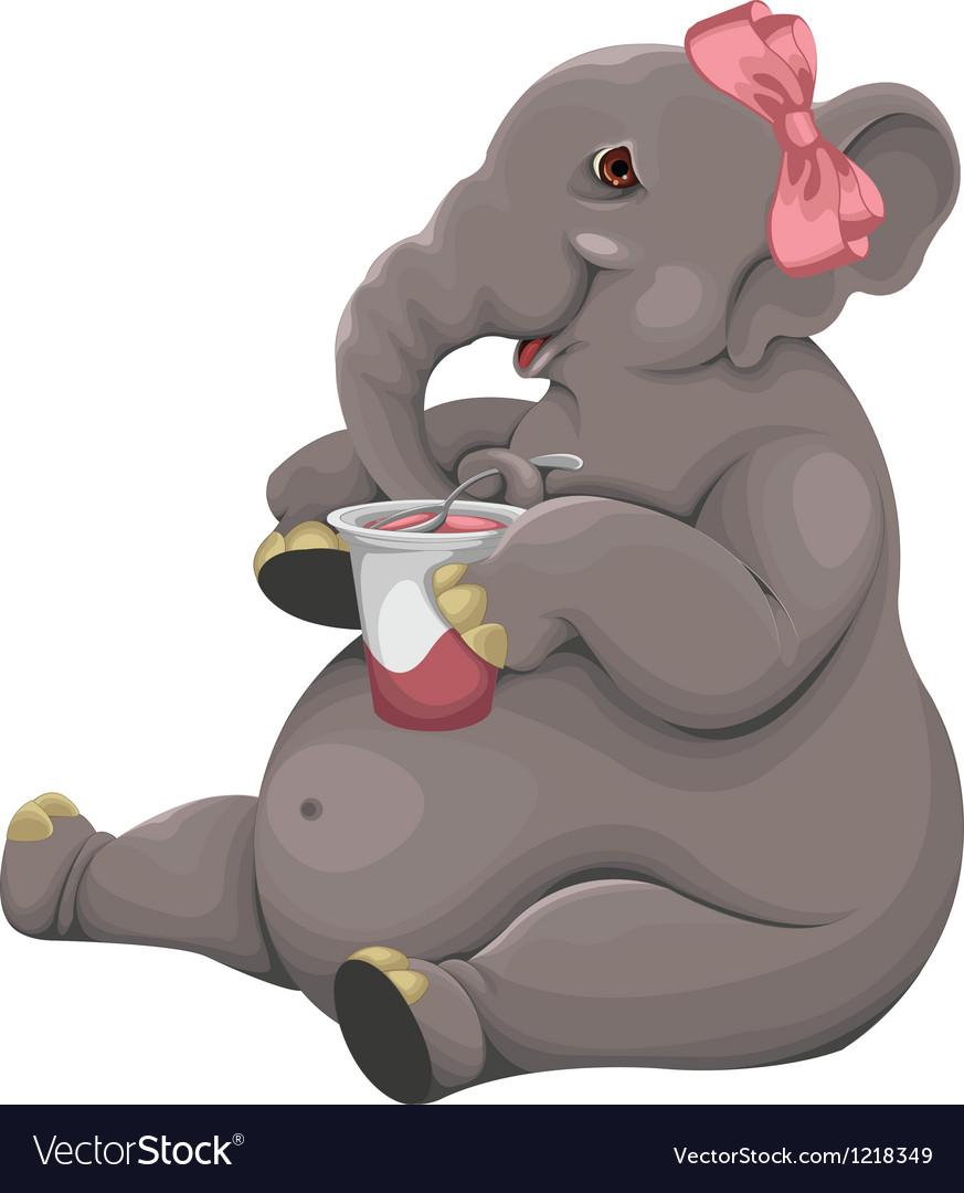Elephant eats yogurt vector | Price: 3 Credit (USD $3)