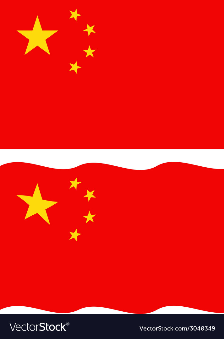 Flat and waving chinese flag vector | Price: 1 Credit (USD $1)