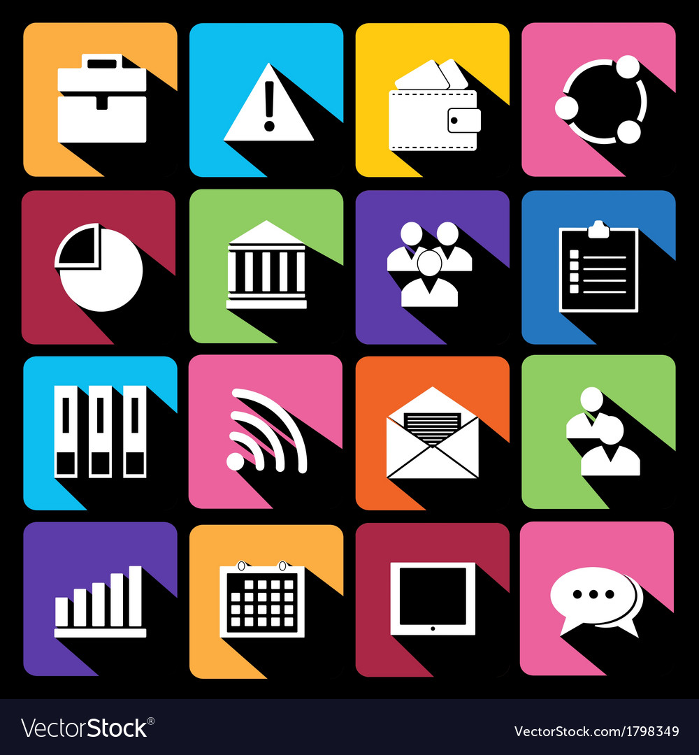 Office and business flat icons for web vector | Price: 1 Credit (USD $1)