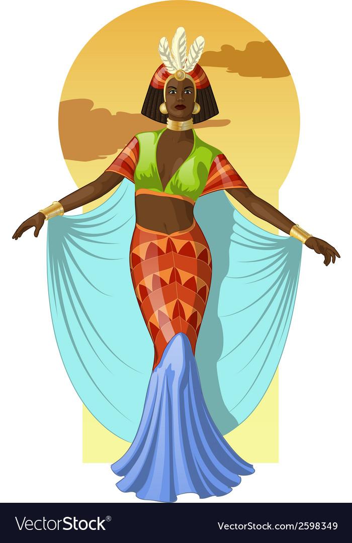 Retro character attractive afroamerican actress vector | Price: 3 Credit (USD $3)