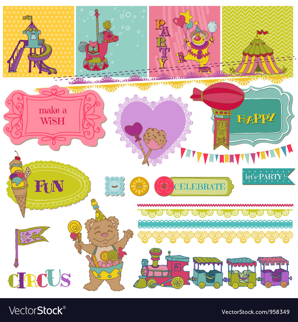 Scrapbook design elements - birthday party child s vector | Price: 1 Credit (USD $1)